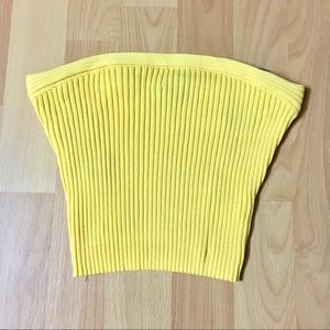 Strapless Yellow Crop Top 💛